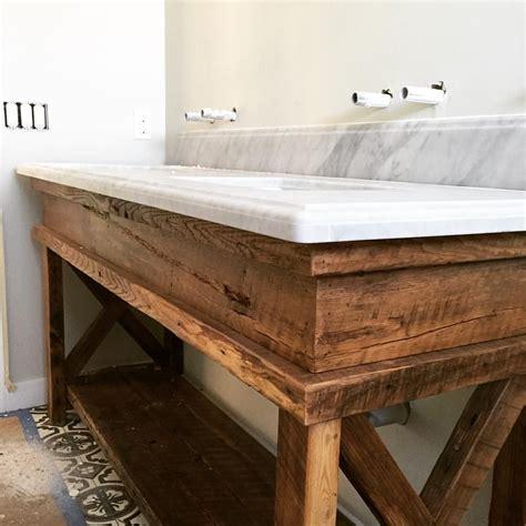 sneak peek   custom hall bath vanity   reclaimed