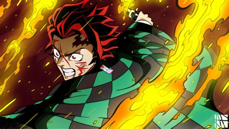 Demon Slayer Tanjiro Kamado And Fire On Sides Hd Anime Wallpapers Hd Wallpapers Id 40607