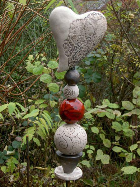 lenschirm selber machen stehle garten stele herz zaunkoenigin auf dawanda gartenfiguren aus ton keramik t 246 pfern