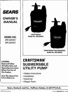 Craftsman 390269451 User Manual Submersible Utility Pump