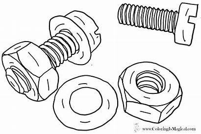 Coloring Nuts Bolt Printables Tool Printable