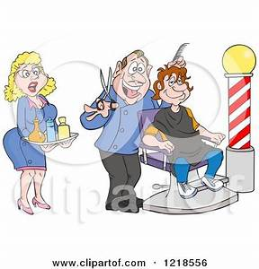 Clipart of a Female Assistant and Barber Cutting a Mans ...