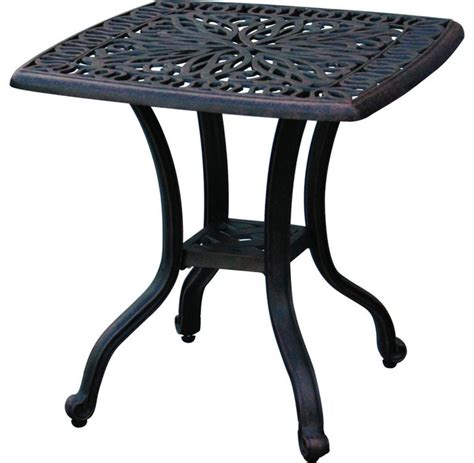 cast aluminum patio end table desert bronze traditional