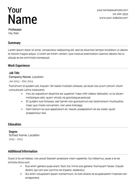 Free Resume Template Resume Template Best Professional Resumes Letters