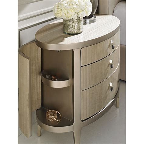 Oval Nightstand by Andrea Modern Classic Wooden Oval Nightstand Kathy Kuo Home