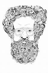 Beard Doodle Coloring Books sketch template