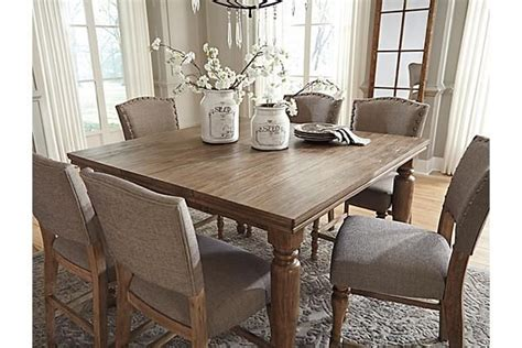 Grayish Brown Tanshire Counter Height Dining Room Table