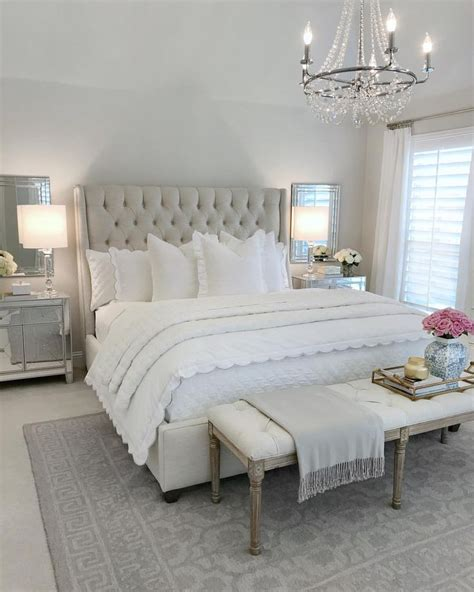 bedroom inspo glam bedroom tufted bed classic gray paint benjamin moorewhite bedding