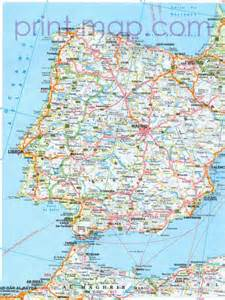 Printable Map of Spain and Portugal