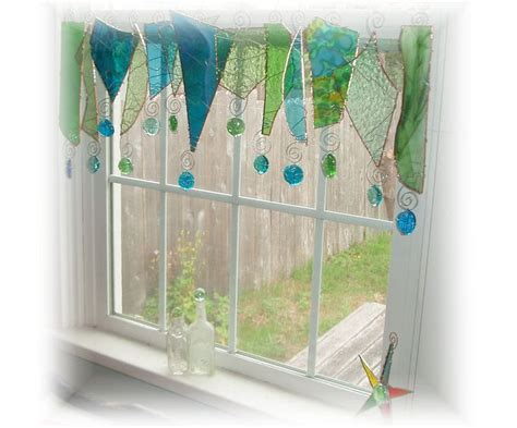 Blue Green Valance by Reserved For Serendipity Blue Green Glass Window