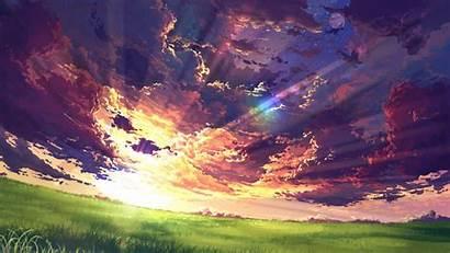 Anime Sunset Landscape Clouds Laptop Tablet