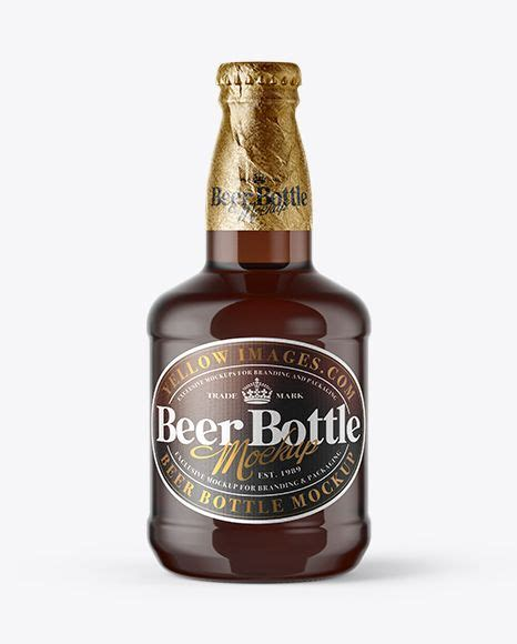 It features three clear bottles with wooden caps displayed in a perspective angle. 330ml Amber Glass Lager Beer Bottle with Foil Mockup in ...