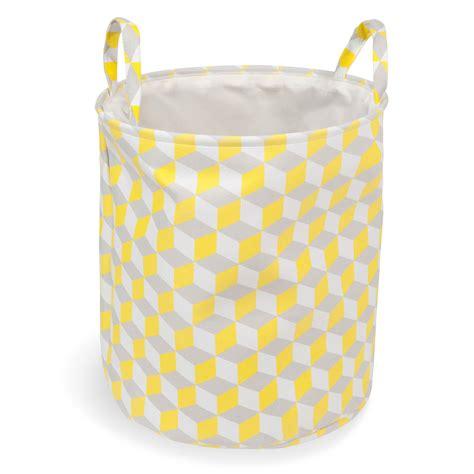 panier a linge maison du monde panier 224 linge en tissu jaune yellow maisons du monde