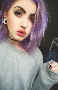 Alternative makeup inspiration purple hair, pale skin