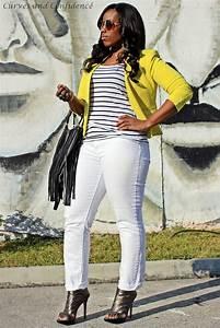 Yellow blazer, white levis curve id jeans, curvy girl ...