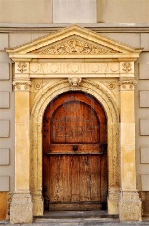 stock photo unique buildings croatia wooden main door