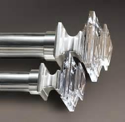 estate crystal square finials silver set of 2 restoration hardware 65 large 1 quot diam rod