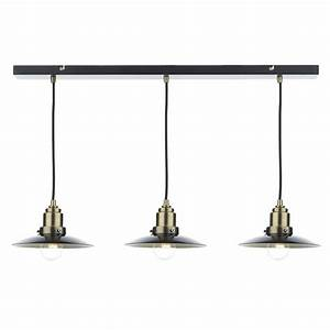 Hannover light bar pendant black antique brass