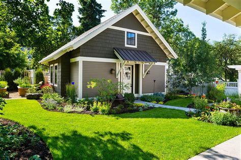 bungalow landscape design shed craftsman with standing seam metal roof guest house standing seam