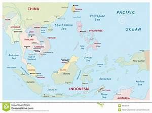 Mappa di Sud-est asiatico illustrazione vettoriale