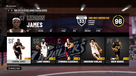 NBA 2K19: 2006-2007 Cleveland Cavaliers Player Ratings and ...