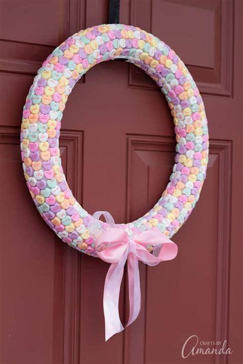 conversation heart wreath  fun valentines craft  adults