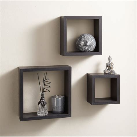 Square Shelves by Set Of 3 Floating Cubes Wall Mounted Storage Book Cd