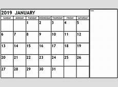 {Free} Monthly January 2019 Calendar PDF Word Excel Page