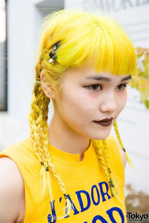 Yellow Hair in Braids, J'adore Dior Top & Pleated Skirt in ...