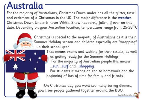 christmas traditions in australia facts s pet displays 187 around the world posters 187 free downloadable eyfs ks1 ks2