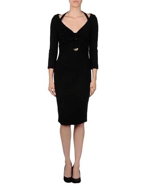 dress black versace versace kneelength dress in black lyst