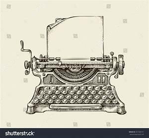 Hand Drawn Vintage Typewriter Sketch Publishing Stock