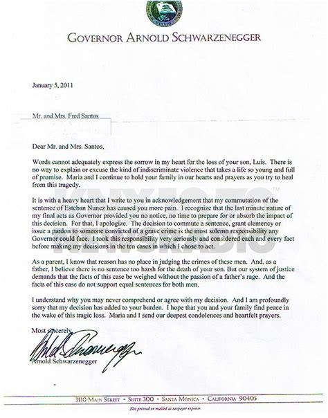 schwarzenegger  apology letter  victims family