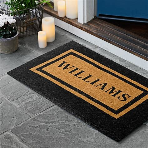 personalized door mat personalized border doormat williams sonoma