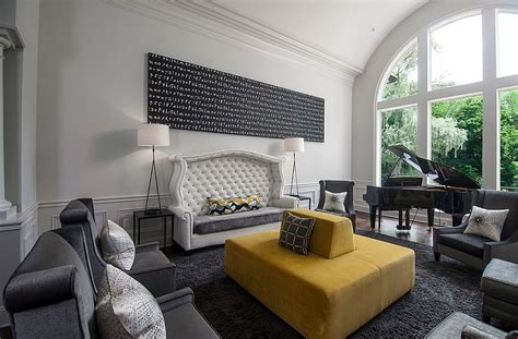 modern grey  yellow living room designs