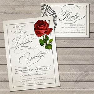 100 beauty and the beast wedding invitations rose tale With disney style wedding invitations