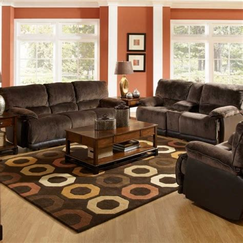 living room decor with leather sofa spacious living room design with red wall color and brown