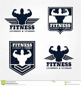 Fitness Logo Emblems In Retro Style Graphic Design (wings ...