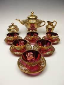 Cranberry Glass Tea Set