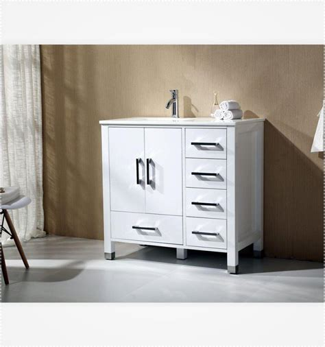 "Anziano 36"" High Gloss White Bathroom Vanity W Quartz Top"