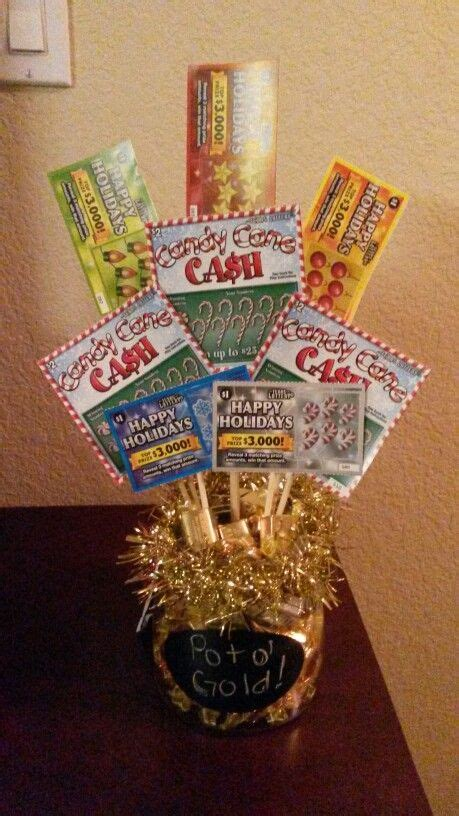 pot  gold lottery ticket bouquet gift idea fill bottom