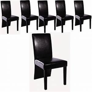 Ensemble de 6 chaises simili cuir noir pour toutes nos for Deco cuisine avec chaise de salle a manger en cuir noir