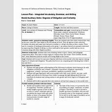 Modal Auxiliary Verbs Lesson Plan  English Language Verb