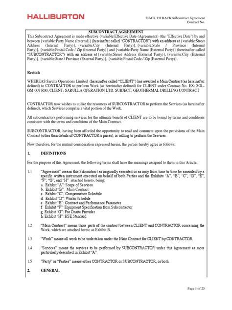 subcontract agreement templatedocx indemnity