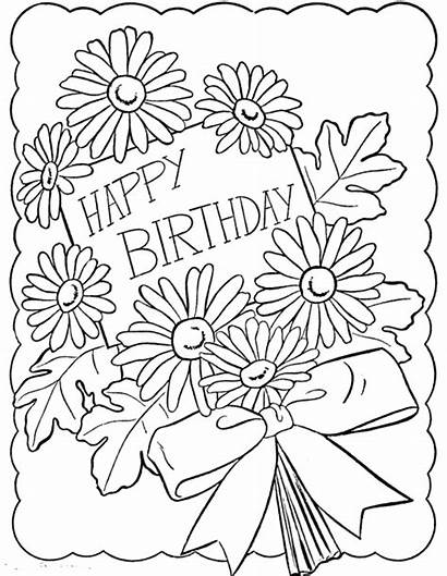 Birthday Coloring Happy Card Pages Drawing Grandma