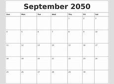 September 2050 Free Monthly Calendar Template