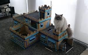 cat castle elaborate cardboard cat castle