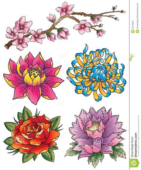 tattoo flower set stock vector image  asian lotus