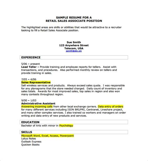 sle sales associate resume 8 free documents in pdf doc