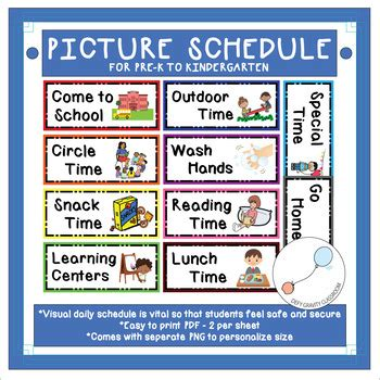 picture schedule pre  kindergarten visual  defy